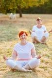 2 старших женщины делая йогу Стоковые Фото