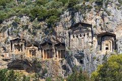 Старые античные усыпальницы королей Lycian Стоковые Изображения RF