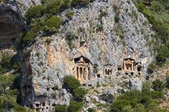 Старые античные усыпальницы королей Lycian Стоковое Изображение RF