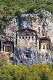 Старые античные усыпальницы королей Lycian Стоковые Фото