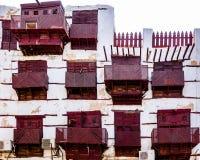 Старые аравийские деревянные окна в Al-balad, Джидде Стоковое Фото