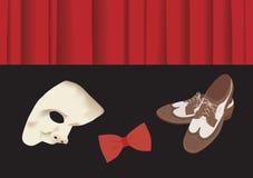 Старые ботинки способа, натянутый лук и маска phantome иллюстрация штока