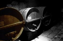 Старые бочки вина в старом погребе Стоковая Фотография