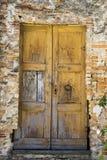 Старые двери в старой стене стоковое фото