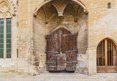 Старые двери на Папах Дворце в Авиньоне, Франции Стоковое Изображение RF
