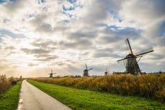 Старые ветрянки в Kinderdijk на восходе солнца, Голландии, Нидерландах, Eu Стоковое Изображение RF