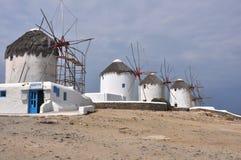 Старые ветрянки на греческом острове Mykonos Стоковое Изображение