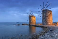 Старые ветрянки Хиоса на ноче Стоковые Фото