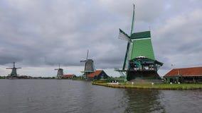Старые ветрянки, Zaanse Schans, Zaanstad, Нидерланд видеоматериал