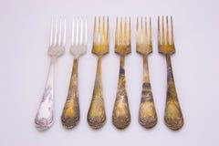 Старые вилки металла изолированные на белой предпосылке Стоковые Изображения RF