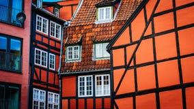 Старые винтажные ретро красочные дома внутри в старой части городка в Копенгагене Стоковая Фотография