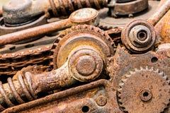 Старые вытравленные механически cogwheels и цепные колеса шестерни Стоковые Фото