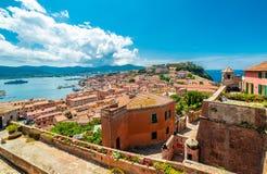 Старые город и гавань Portoferraio, остров Эльбы, Италия стоковое фото rf