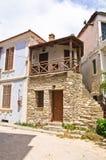 Старые греческие дома сделанные камня на острове Thassos Стоковые Фотографии RF