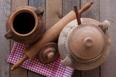 Старые глиняные кувшины с вращающей осью Стоковое Фото