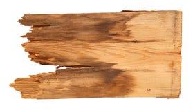 Старые деревянные доски изолированные на белой предпосылке закройте вверх пустого деревянного знака с путем клиппирования Стоковое Изображение RF
