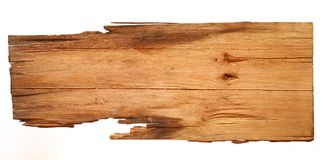 Старые деревянные доски изолированные на белой предпосылке закройте вверх пустого деревянного знака с путем клиппирования Стоковые Фотографии RF
