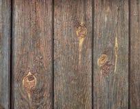 Старые деревянные доски с трассировками коричневых красок и узлов Стоковая Фотография RF