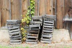 Старые деревянные клети используемые для комплектации виноградин в виноградниках штабелированных вне старого амбара стоковое фото