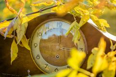 Старые деревянные часы в листве как символ для преобразования к зимнему времени стоковое фото