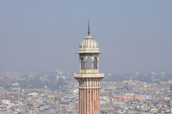 Старые Дели и минарет Jama Masjid Стоковая Фотография RF
