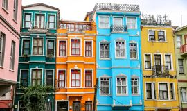 Старые дома в районе Fener, Стамбуле, Турции Стоковое Изображение