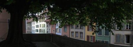 Старые дома и дерево города Стоковое Изображение RF