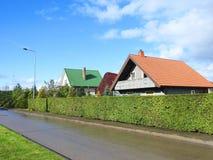 Старые дома приближают к улице, Литве Стоковая Фотография RF
