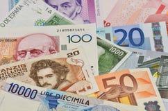 Старые европейские валюты стоковые изображения rf