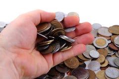 Старые европейские монетки в моей руке Стоковые Фото
