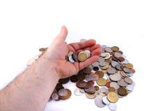 Старые европейские монетки в моей руке Стоковое Изображение RF