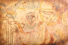 Старые египетские короля и папирус ферзя Стоковая Фотография RF