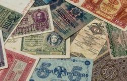 Старые деньги Европы - предпосылки с банкнотами стоковая фотография rf
