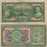 Старые деньги - чехословакские 100 Стоковые Фото