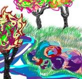Старые деревья и осень фантазии Стоковое фото RF