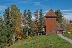 Старые деревья церков и осени близко устанавливают Rigi, Альпы Стоковая Фотография