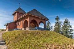 Старые деревья церков и осени близко устанавливают Rigi, Альпы Стоковое фото RF