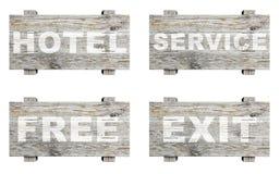 Старые деревянные информативные знаки установленные с словом Стоковое Изображение