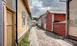 Старые деревянные дома в Rauma Финляндии Стоковая Фотография RF