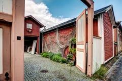 Старые деревянные дома в Rauma Финляндии Стоковые Изображения