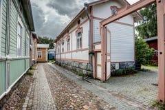 Старые деревянные дома в Rauma Финляндии Стоковые Фото