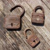 Старые деревянные padlocks Стоковое фото RF