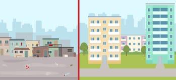 Старые загубленные дома и современный город Контраст современных зданий и плохих трущоб иллюстрация вектора