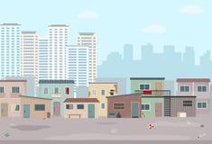 Старые загубленные дома и современный город Контраст современных зданий и плохих трущоб бесплатная иллюстрация
