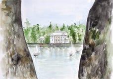 Старые замок и яхт-клуб бесплатная иллюстрация