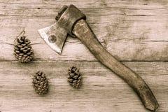 Старые запятнанные конусы оси и ели на старой деревянной поверхности Стоковые Фото
