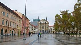 Старые здания вокруг конгресса придают квадратную форму в старом городке Любляны в Словении Стоковое Изображение