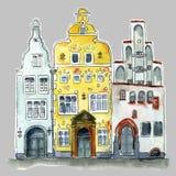 Старые здания сестер дерева городка иллюстрация вектора