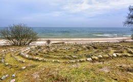 Старые знаки круга на шведском побережье Стоковые Фотографии RF