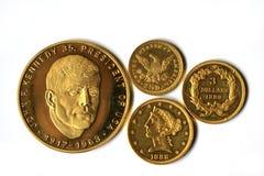 Старые золотые монетки Америки Стоковое Фото